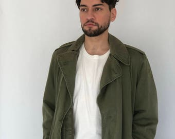 50s Military Trenchcoat ~ Wool Vest Insert~ Small