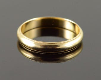 14k 3.6mm Milgrain Wedding Band Gold
