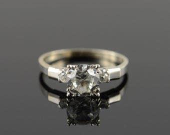 14k 1.25 CTW CZ Vintage Engagement Ring Gold
