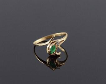 14k Emerald Diamond Bypass Ring Gold
