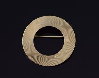14k Spiral Circle Pin/Brooch Gold