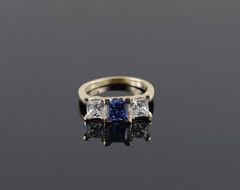2.25 Ctw Tanzanite Three Stone Travel Engagement Ring Size 7 Gold
