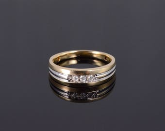 14k Diamond Grooved Mens' Wedding Band Ring Gold
