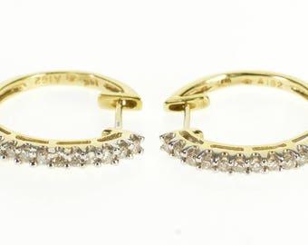 14k 0.50 Ctw Diamond Encrusted Round Hoop Earrings Gold