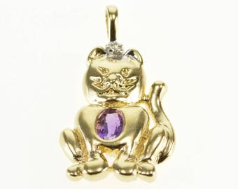 10k Amethyst Diamond Accent High Relief Kitty Cat Pendant Gold