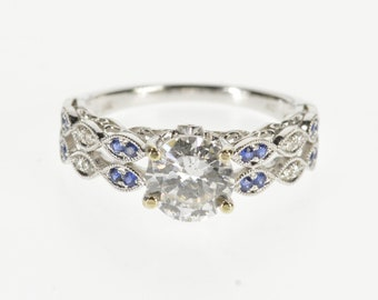 14K 1.26 Ctw Ornate Diamond Sapphire Engagement Ring Size 6 White Gold