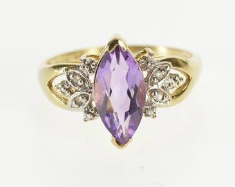 10k Marquise Amethyst Diamond Petal Accent Ring Gold