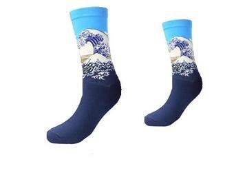 Art Socks The Wave,Art Socks,Fine Art Socks, Gift for Women,Artist,Cool Socks, Hosakai Art socks, Art Gift, Art Teacher
