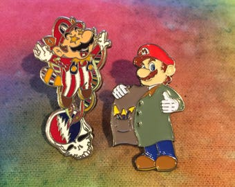 Super Mario Flying Racoon/ Grateful Dead Hat Pin and Mushroom Mario Set (2)