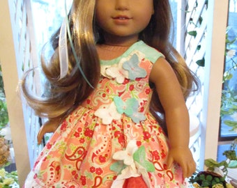 """Butterfly Kisses Doll Dress to fit your 18"""" American Girl Doll in Corals and Light Blue"""