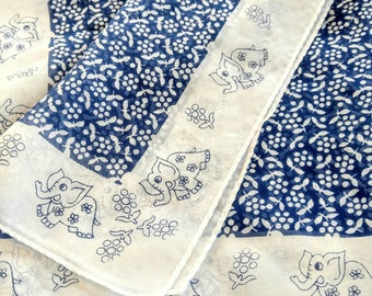 ADORABLE Rare Vintage Scarf-Happy Elephants with Flowers-Blue and White-Daisys-Head-Neck-All Orders Only 99c Shipping!!