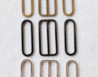 """Set of 5cm(2"""") Oval Rings and Slider. 3 Nickel Free Finishes- Silver, Gunmetal and Antique Brass. Aussie Seller"""