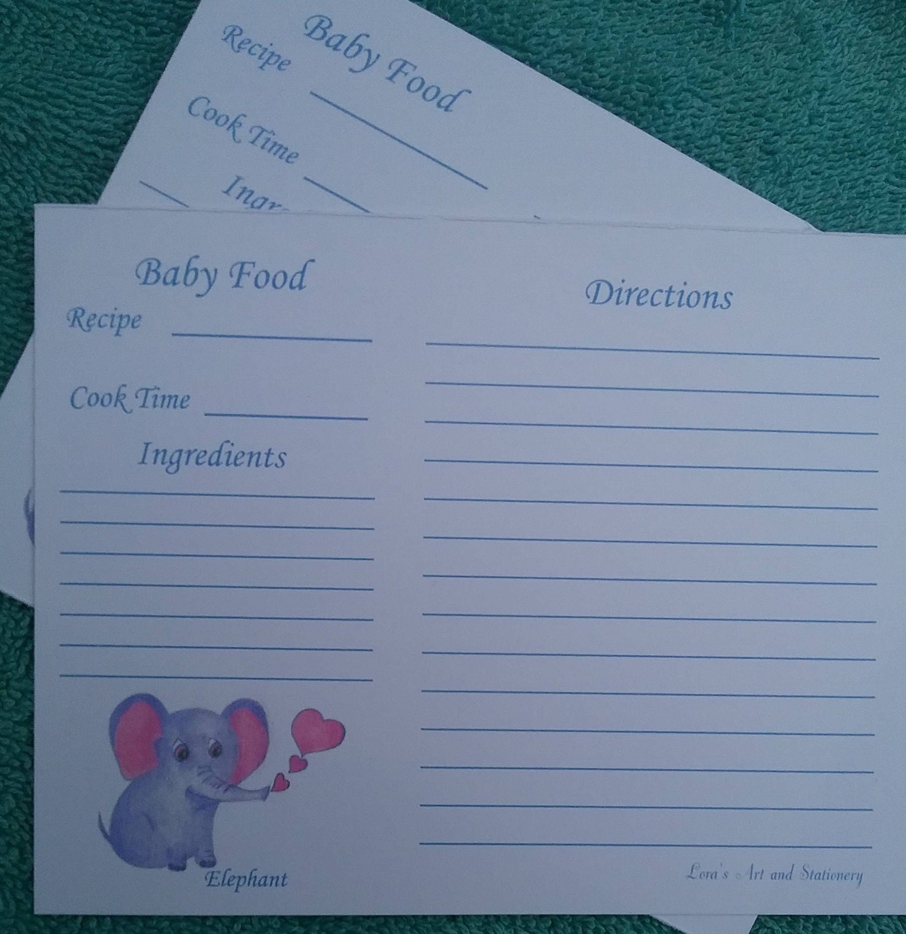 Recipe cards baking recipe cards elephant baby food recipe sold by loraartandstationery forumfinder Gallery