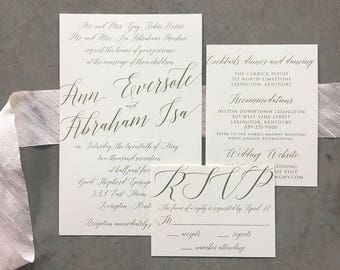 Sample Modern Madeline wedding invitation suite