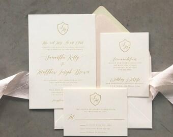 Sample Classic Crest Bright Gold wedding invitation suite