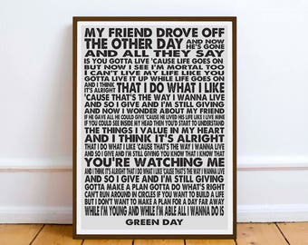 Green Day - J.A.R. (Jason Andrew Relva) - quote - Lyric Art print Typography music gift Friendship
