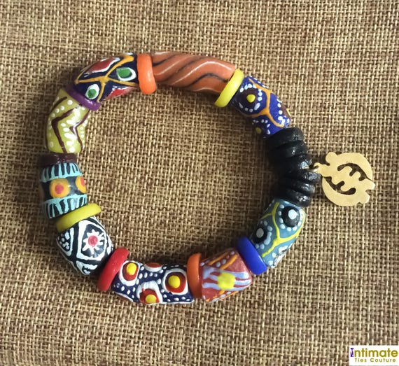Mens African Bead Stretch Bracelet With Adinkra Charm