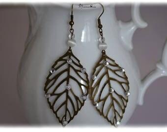Bronze leaf and rhinestone earrings