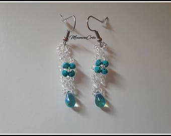 Blue and white earring,