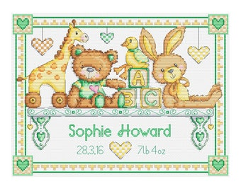 Toy Shelf Birth Sampler - Durene J Cross Stitch Pattern - DJXS2224