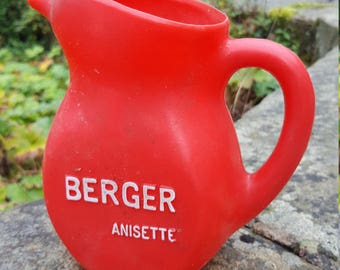 Vintage French Red Jug / Plastic Berger Jug / Anisette plastic water pitcher / Bistro jug / Retro bistro jug / Berger Jug / French pitcher