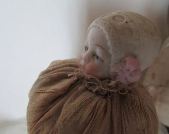 Vintage~Antique Bisque doll head human hair pin cushion~curiosity lovers delight