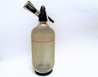 Vintage Soda Siphon, Wire Mesh Soda Siphon, Seltzer Bottle, Soda Bottle, Glass Seltzer, Vintage Barware, Men cave Decor, Czechoslovakia, 70s