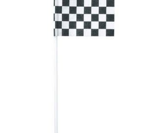 Checkered Racing Flag Cupcake Picks - 24 Picks