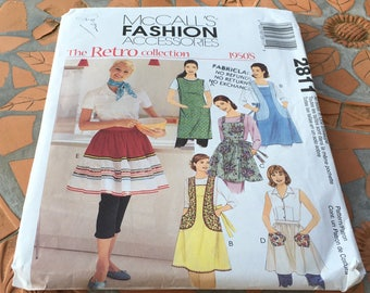 McCall's Fashion Accessories Retro Collection 1950s 50s Apron Back Tie Closure Artist  Smock Back Wrap All Sizes Uncut