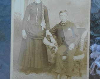Antique Victorian Cabinet Card Young Man Woman Long Hair Braided Hair Indiana