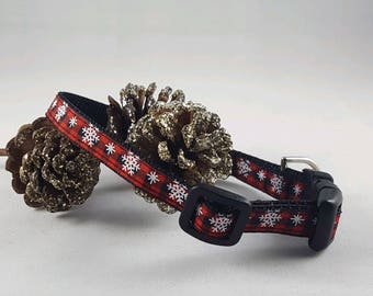 Red/Black plaid w/snowflakes small dog collar