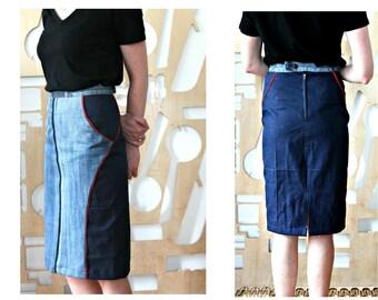 Denim skirt Upcycled Blue skirt Boho Festival Hippie Grunge Patchwork skirt Hipster Pencil skirt A line skirt Cotton skirt Steampunk Casual