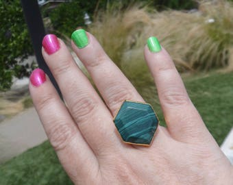 Imitation Malachite Ring, Adujstable