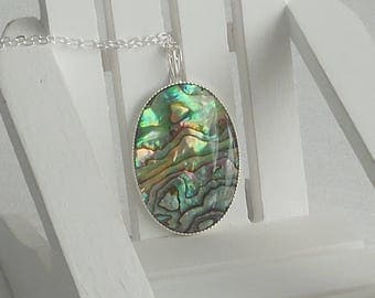 Paua shell and sterling silver necklace