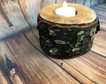 Cherry wood candle holder, hardwood rustic wooden candle holders, tea light holder, rustic centerpieces, home decor, rustic wedding decor, t