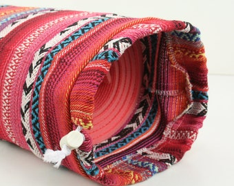 Colourful Pink Cotton Yoga Pilates Mat Bag