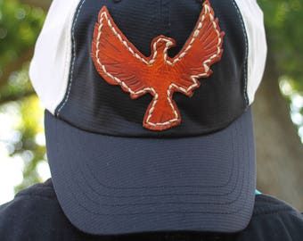 Trucker Ball Cap with Hand Tooled Leather Thunderbird/Eagle Patch, Southwestern, Western, Boho Hat