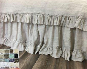 """Linen Bed Skirt with 4"""" Country Ruffle Hem, great match of the country ruffle duvet cover, multiple colors, Cottage Beauty"""