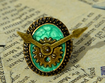 """The time of the sin"" adjustable Steampunk ring: the laziness"