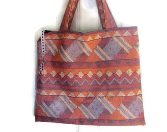 large bag tote bag / Tote / double knitting bag, printed ethnic Brown, grey, beige.
