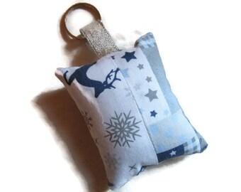 Keychains fabric reindeer snow blue gray white stars