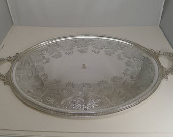 Grand Large Silver Plate Serving Tray - Ferns, by James Dixon & Sons c.1875