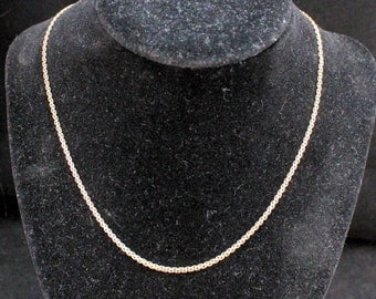 14K Solid Yellow Gold Fancy Flat Chain Necklace Vintage Estate 16 Inches Long Over 4 Grams Over 2 Millimeters Wide Mother's Day
