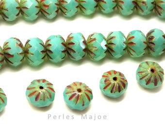 24 Perles en verre tchèques forme rondelle multicolores dimensions 5 x 6 mm