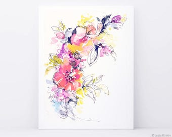 Bright watercolor flower painting/abstract floral pink red yellow print art/modern wall decor flower illustration artwork/colorful plants