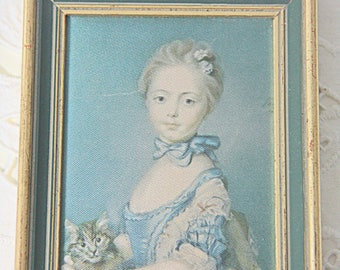 Vintage Small  Silk Print in Gilded Wooden Frame, Victorian Girl with Cat, 'Jeune Fille Avec un Petit Chat by Perronneau