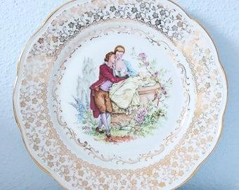 Set of Two Vintage Dinner Plates, Courting Couple Decor after Antoine Watteau, Porcelaine Veritable, France