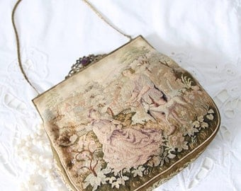 Rare Antique Austrian Petit Point Purse, Evening Bag, Brass Frame and Chain Strap, Courting Scene Decor, Kessler & Reichenbach, Vienna