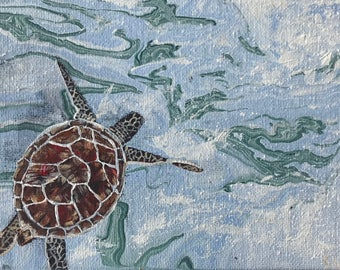 """Turtle In Water Painted In Acrylic """"5X7"""" Canvas Board 