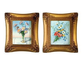 Ernst Schildt Floral Still Life Framed Original Oil Painting Pair